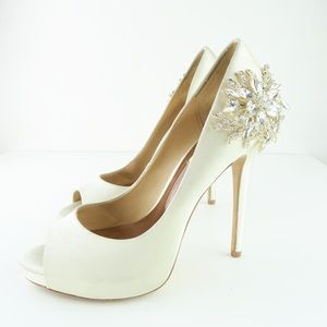 Badgley Mischka Embellished Peep Toe Pump Heels